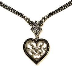 vintage heart necklace bronze