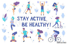 Healthy lifestyle. Different physical activities: running, roller ...
