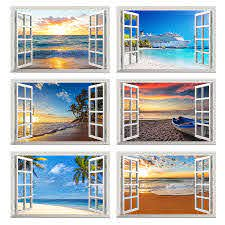 Sea Beach Wall Sticker 3d Window View Wall Decal Coast Sunset Pvc Vinly Art Wallpaper Home Living Bedroom Decor Stickers Wall Stickers Aliexpress