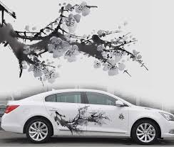 Both Sides Washing Painting Plum Blossom Tree Car Charger Floral Car Body Stickers Graceful Pretty Flower Waterproof Vinyl F Charger Car Car Vinyl Car Stickers