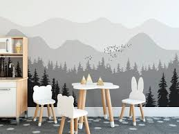 Greyish Mountain And Pine Tree Wall Mural Removable Wall Paper Etsy Tree Wall Murals Forest Wall Mural Wall Murals