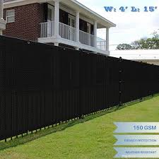 E K Sunrise 4 X 15 Black Fence Privacy Screen Commercial Outdoor Backyard Shade Windscreen Mesh Fabric 3 Years Warranty Customized Sizes Available Set Of 1 B0773733k1