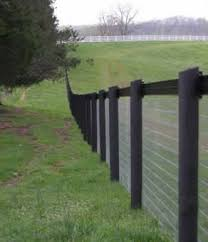 Black Round Post With Field Fence This Would Also Make A Good Yard Fence Or Garden Fence With A Classy Look Horse Fencing Pasture Fencing Farm Fence