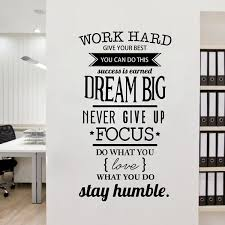 Zhehao Motivation Wall Decals Office Room Decor Never Give Up Work Hard Dream Big Inspirational Quote Wall Stickers Wish