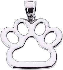 polished 14k white gold dog paw print