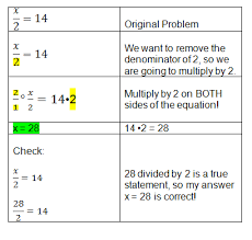 solving basic equations with division