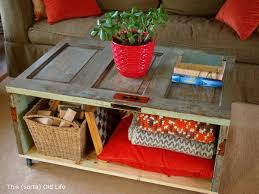 how to make salvaged door coffee table