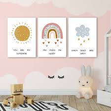 Nordic Poster Sunshine Rainbow Cloud Art Print Nursery Wall Painting Happy Quotes Canvas Pictures Kids Room Wall Art Decor Nordic Wall Canvas Home And Decoration