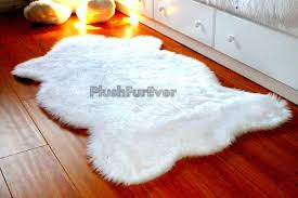 white fluffy sheepskin rug throw