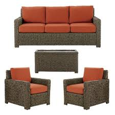 4 piece brown wicker outdoor patio