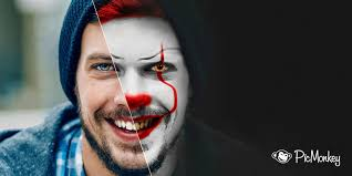 transform into a scary clown picmonkey
