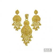 22k yellow gold pendant set ajps55353