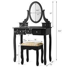 costway 5 drawer vanity table set