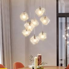 multi light cube led hanging lamp glass