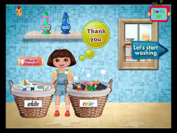 dora wash her dirty clothes
