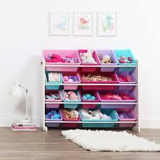 Humble Crew White Pink Kids Toy Storage Organizer W 16 Plastic Bins Walmart Com Walmart Com