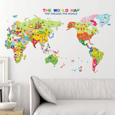Animal World Map Wallpaper For Kids Rooms Home Decor Art Decals 3d Sofa Bedroom House Decoration Diy Vinyl Wall Stickers Wall Art Sticker Wall Art Sticker Quotes From Totwo3 7 91 Dhgate Com
