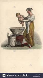 Mother putting her baby into a bath. Handcoloured copperplate engraving  from Augustin Legrand's Amour et Tendresse (Love and Tenderness), Louis  Janet, Paris, 1820 Stock Photo - Alamy