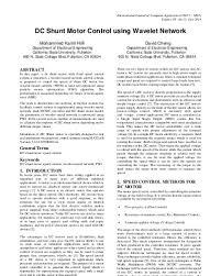 dc shunt motor control using wavelet