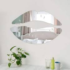 Amazon Com Cugbo 2 Set 3d Kiss Lips Mirror Wall Stickers Acrylic Diy Art Decals Home Room Decor Silver Home Kitchen