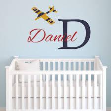 Amazon Com Personalized Airplane Wall Decal Jumbo Name Nursery Monogram Removable Vinyl Wall Sticker Plane Name Vinyl Lettering Boy Bedroom Wall Decor Baby