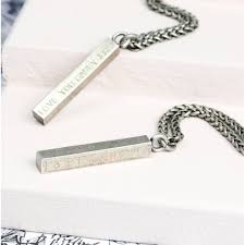 mens personalised solid bar necklace