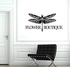 Amazon Com Flower Boutique Vinyl Wall Decal Dragonfly Shop Decor Stickers Mural And Stick Wall Decals Home Kitchen