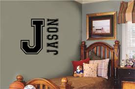 Personalized Custom Name Sports Monogram Varsity Letter Vinyl Decal Wall Stickers Letters Words Teen Room Decor Gift
