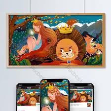 Cô gái sư tử động vật rừng công chúa xanh đỏ phim hoạt hình truyện cổ tích  minh họa | Minh họa PSD Tải xuống miễn phí - Pikbest