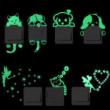 Hot Promo 72f2 Luminous Switch Stickers Glow In The Dark Decorative Sticker Kids Room Home Decoration Cartoon Cat Dog Fairy Star Pvc Wall Decal Cicig Co