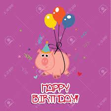 Cerdo Celebrar Una Fiesta De Cumpleanos Feliz En El Fondo Purpura