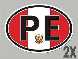 2 Peru Pe Peruvian Oval Stickers Flag Decal Bumper Car Window Code Sticker Cl045 4 99 Picclick