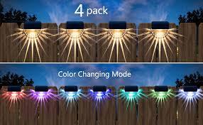 Solar Fence Lights Outdoor 4 Pack Decorative Solar Deck Lights Waterproof Led Solar Step Lights For Garden Decor Front Door Railing 2 Lighting Modes Warm White Color Changing Amazon Com