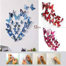 12 Pack 3d Butterfly Living Room Wall Decals Stickers Diy Pink Collect Chaircoverfactory