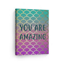 Smile Art Design You Are Amazing Quote Mermaid Decor Canvas Wall Art Print Kids Room Decor Baby Room Decor Nursery Decor Ready To Hang Made In The Usa 22x15 Walmart Com