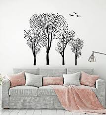 Vinyl Wall Decal Trees Green Leaves Forest Birds Nature Landscape Stic Wallstickers4you