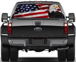 Us Flag Bald Eagle Car Rear Window See Through Net Decal Decalz Co