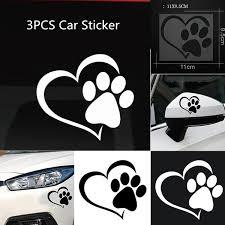 3pcs Pet Paw Print With Heart Dog Cat Vinyl Decal Car Window Bumper Sticker Wish