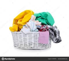laundry basket with dirty clothes on