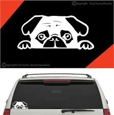 Peeking Pug Puppy Auto Decals Car Stickers Topchoicedecals