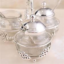 glass liner condiment pots set of 2