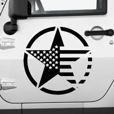 Amazon Com American Flag Star Decals For Doors Two Stars And Stripes Door And Window Stickers American Flag Us Army Star Military Badge For Off Road Car Truck Suv Hood