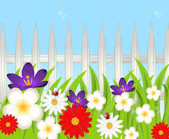 Background For A Design With A Wooden Fence And Beautiful Flowers Vector Royalty Free Cliparts Vectors And Stock Illustration Image 30812954
