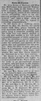 Ada Burns marriage (Step-daughter Grover Simmons) - Newspapers.com