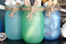 painted mason jars with sea glass paint