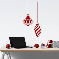 Holiday Wall Decal Two Large Swirl Christmas Ornaments