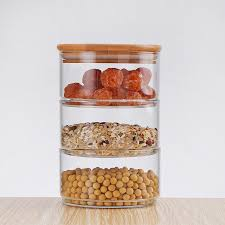glass containers stackable glass jar