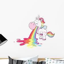 Cute Rainbow Barfing Unicorn Wall Decal Wallmonkeys Com