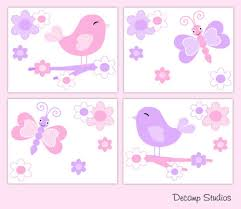 Butterfly Chickadee Nursery Baby Girl Wallpaper Border Wall Art Decals Kids Room Baby Nursery Wallpaper Borders