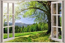3d Window View Beautiful Green Meadow Wall Sticker Film Decal Wallpaper 44 Window Mural Window View Wallpaper Designs For Walls